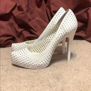 White platform stiletto heels
